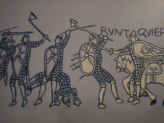 painting of guys in armor hitting each other with axes
