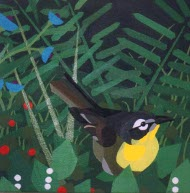acrylic painting of a yellow bird